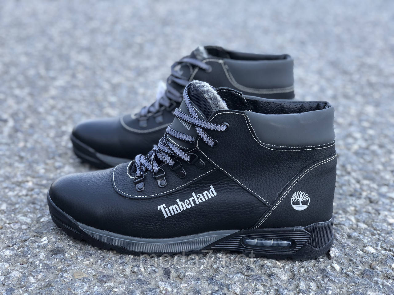Ботинки зимние мужские черные Timberland нат. кожа реплика