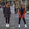 Стильна молодіжна осінньо-зимова двостороння куртка з капюшоном, норма і батал великі розміри, фото 8