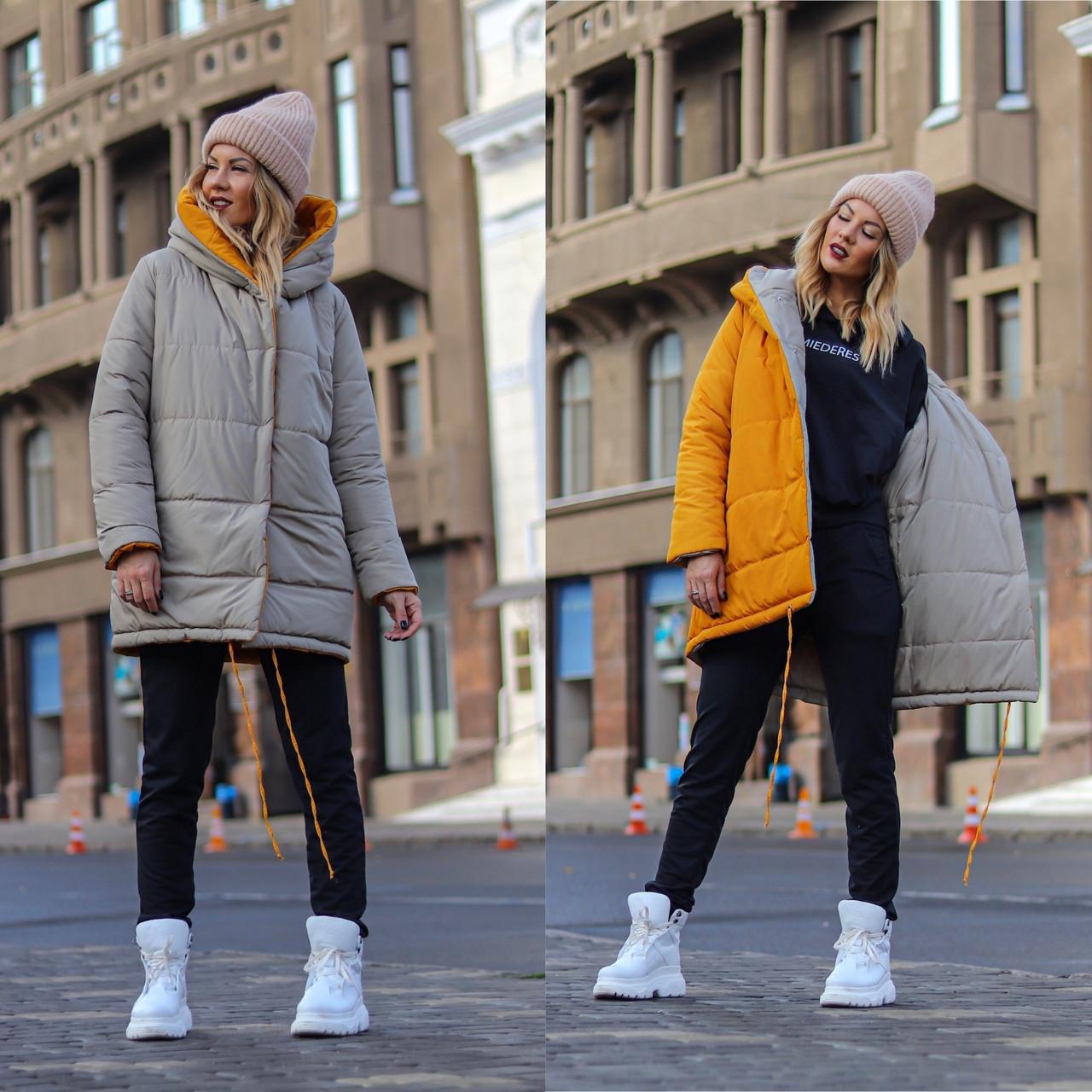 Стильна молодіжна осінньо-зимова двостороння куртка з капюшоном, норма і батал великі розміри