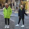 Стильна молодіжна осінньо-зимова двостороння куртка з капюшоном, норма і батал великі розміри, фото 6