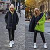 Стильна молодіжна осінньо-зимова двостороння куртка з капюшоном, норма і батал великі розміри, фото 7