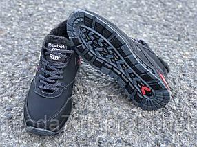 Ботинки зимние мужские черные Reebok нат. кожа реплика, фото 3