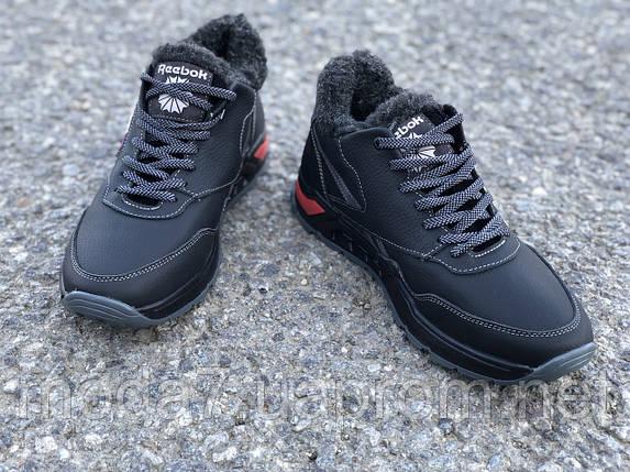 Ботинки зимние мужские черные Reebok нат. кожа реплика, фото 2