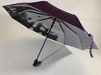 Фиолетовый женский  зонт полуавтомат с рисунком под куполом на 9 спиц