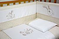 """Детский постельный комплект Veres """"Happy Banny beige"""" 7 единиц кофе с молоком"""