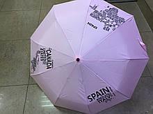 Розовый молодежный зонт полуавтомат 9 карбоновых спиц страны мира