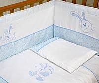 """Детский постельный комплект Veres """"Happy Banny blue"""" 7 единиц голубой"""