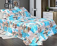 """Комплект постельного белья """"Фантазия синий"""", бязь (Семейный на резинке)"""