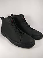 Ecco ботинки мужские зимние из натуральной кожи на меху чёрный (ecco-SB8-black)