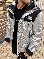 Куртка мужская демисезонная удлиненная норд фейс серебро,светлая