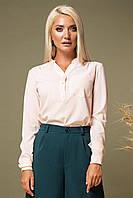 Персиковая блузка с V-образным вырезом