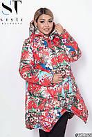 Женская куртка на зиму цветочный принт с капюшоном удлиненная батал
