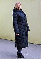 Длинное зимнее пальто-пуховик женский, темно-синий, большие размеры