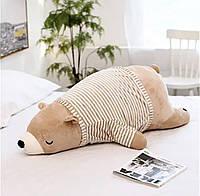 М'яка Іграшка Ведмедик Лежачий Подушка Коричневий - 45 см