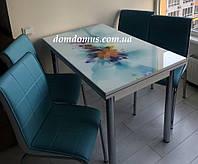 """Комплект обеденной мебели """"Mavi Cicer"""" (стол ДСП, каленное стекло + 4 стула) Mobilgen, Турция"""