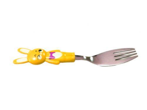 Детская вилка, нержавеющая сталь (оранжевая) 147