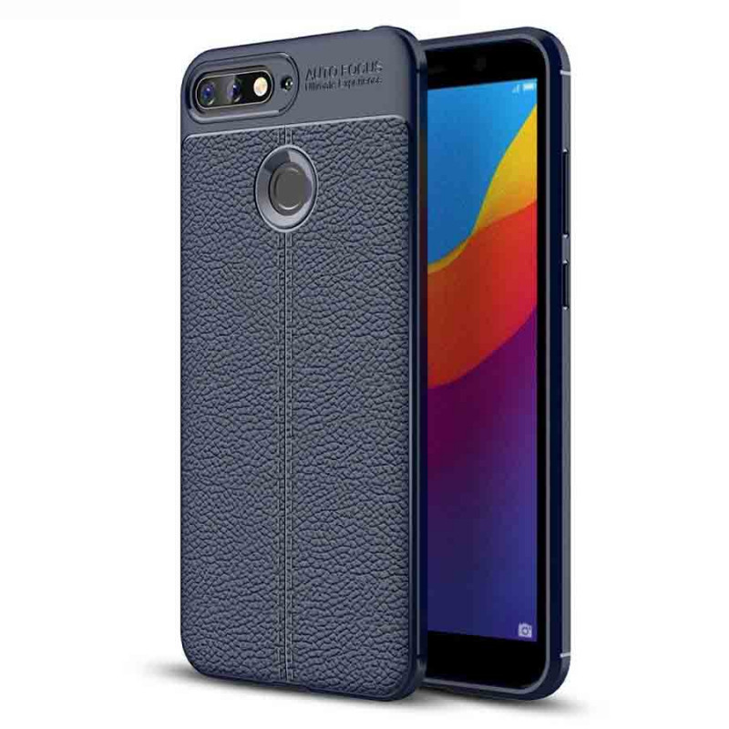 TPU чехол фактурный (с имитацией кожи) для Huawei Honor 7A Pro / Y6 Prime 2018