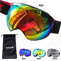 Горнолыжная маска красная черная Лыжные очки для взрослых и подростков Copozz AoFuson Nipsu