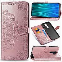 Кожаный чехол (книжка) Art Case с визитницей для Xiaomi Redmi Note 8 Pro Розовый