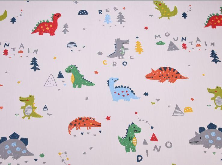 Сатин-твил Динозавры, буквы