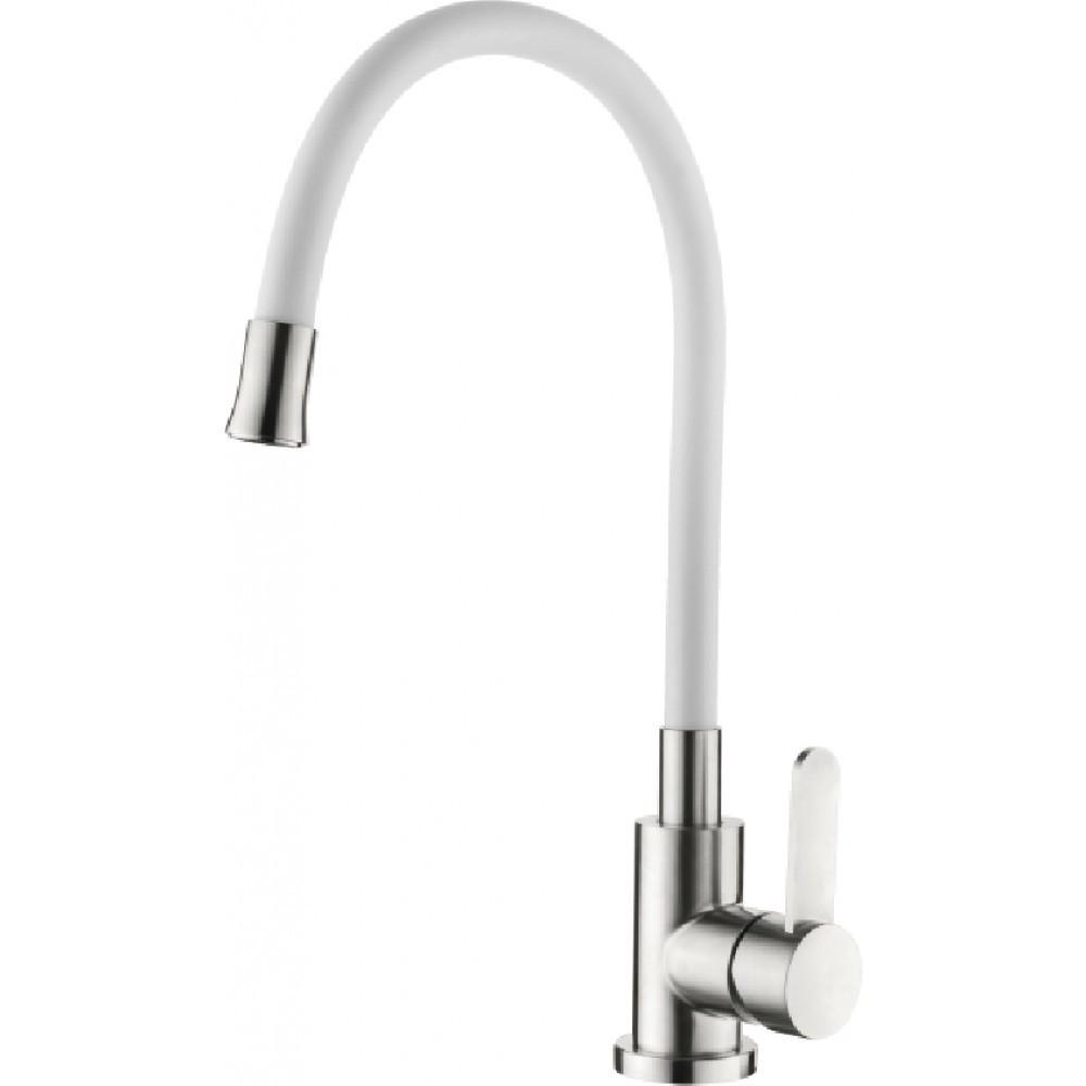 Смеситель для кухни нержавейка с гибким белым гусаком ZERIX LR74004-3 SUS304