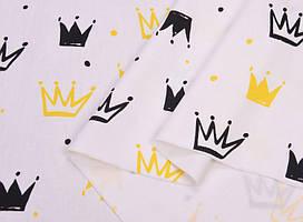Сатин-твил Короны черные, желтые
