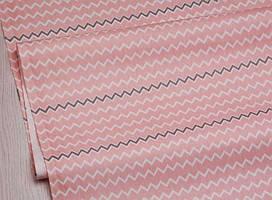 Сатин-твил Зигзаги белые, графитовые на кораллово-розовом