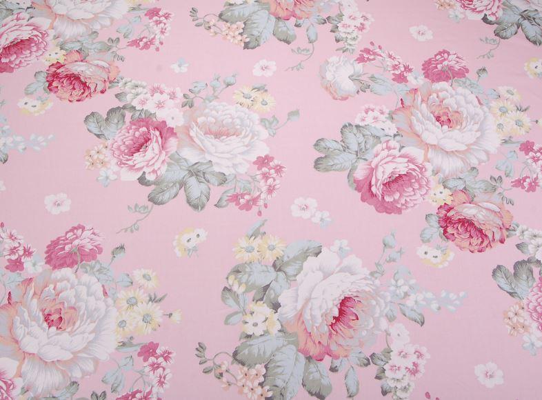 Сатин-твил Розы винтаж на розовом