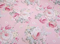 Сатин-твил Розы винтаж на розовом, фото 1