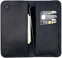 Кожаный чехол-кошелек Valenta для телефонов до 5.5 дюймов Синий