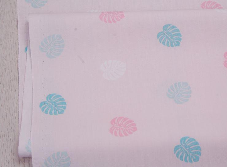 Сатин-твил Пальмовые листья на розовом
