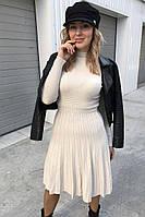 Плиссированное платье с люрексом Unigirl - молочный цвет, M (есть размеры)