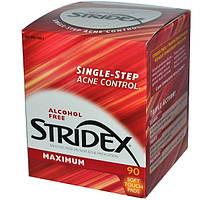 Безспиртовые салфетки Stridex - одношаговое средство от угрей, без спирта, 90 штук в уп.