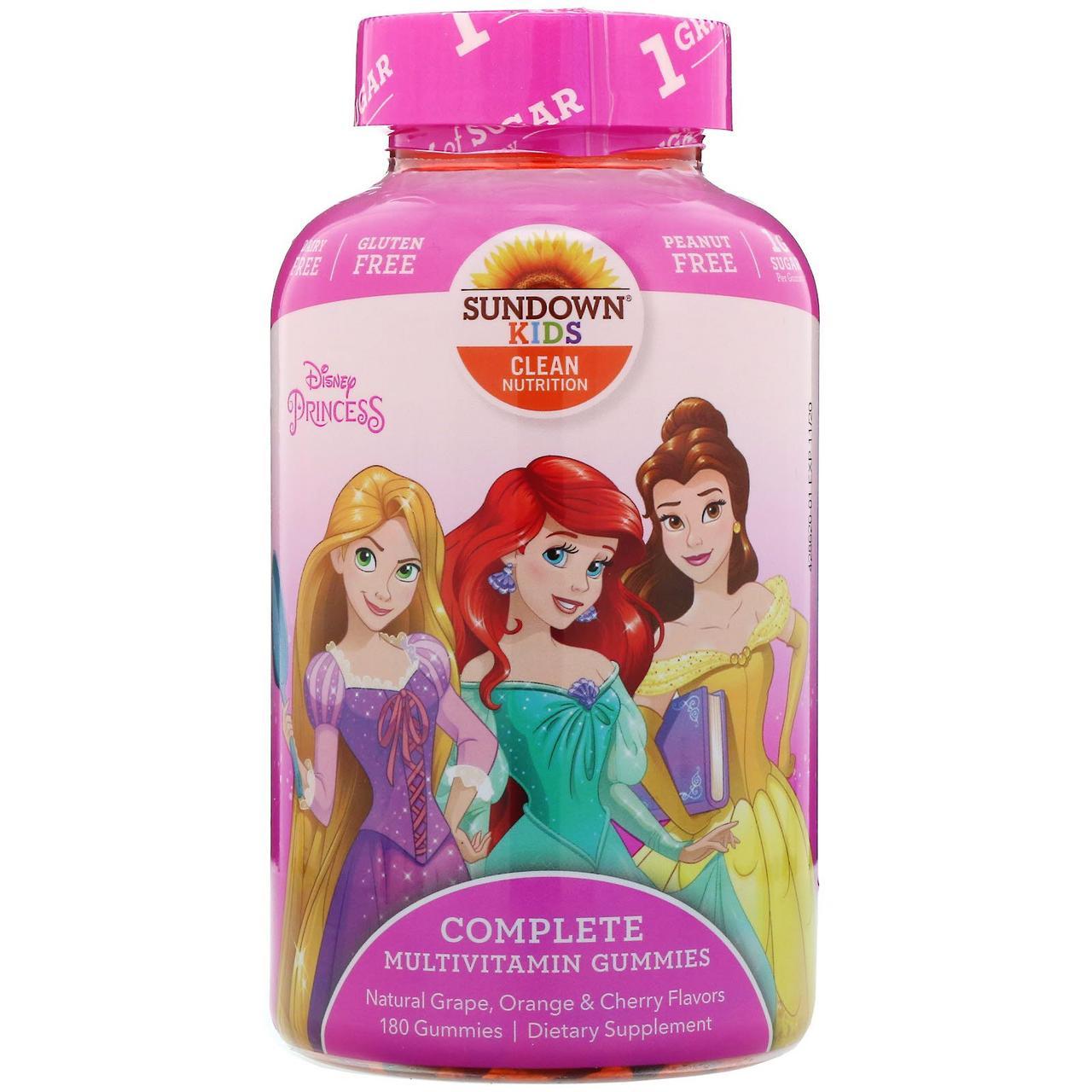Мультивитаминны детские Sundown Naturals Kids, принцесса Диснея, виноград, апельсин и вишня, 180 жев.мармелад