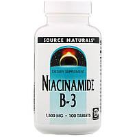 Source Naturals, Никотинамид, B-3,начинает действовать в запланированное время, 1,500 мг, 100 таблеток