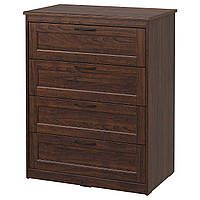 IKEA SONGESAND (603.667.89) Комод с 4 ящиками, коричневый, 82x104 см