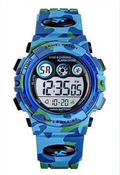 Оригинальные спортивные детские часы Skmei KIDS 1547 голубой камуфляж