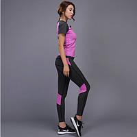 Костюм спортивный  женский для фитнеса, спорта, бега, йоги. Размер M (сиреневый)