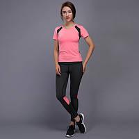 Костюм спортивный  женский для фитнеса, спорта, бега, йоги. Размер M (розовый)