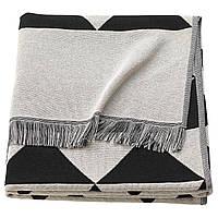 IKEA JOHANNE (703.858.48) Плед, черный / натуральный черный / белый, 130x170 см