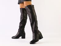 Женские черные зимние сапоги-европейка из натуральной кожи