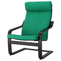 IKEA POANG (792.416.38) Кресло, черный бриз, Lysed ярко-зеленый