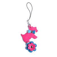 Collar Glamour кожаный брелок Собачка розовый
