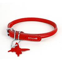Collar Glamour круглый кожаный ошейник для длинношерстных собак красный 20-25см, 6мм