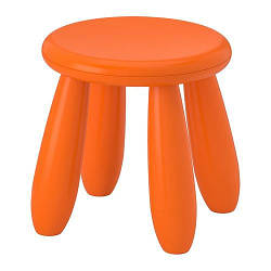 ИКЕА (IKEA) МАММУТ, 503.653.61, Табурет детский, д/дома/улицы, оранжевый - ТОП ПРОДАЖ