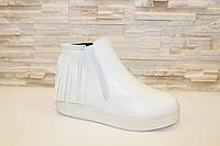 Ботиночки женские белые с бахромой Д430, фото 1