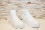 Ботиночки женские белые с бахромой Д430, фото 3