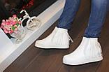Ботиночки женские белые с бахромой Д430, фото 5