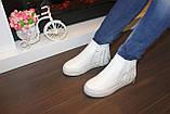 Ботиночки женские белые с бахромой Д430, фото 9