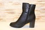 Сапоги женские черные на удобном каблуке Д616, фото 2